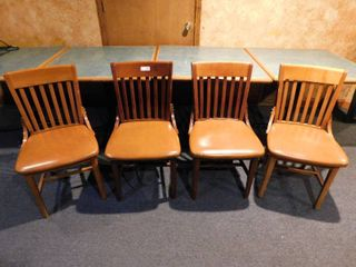 Set of 4 Wood Dining Height Chairs w Vinyl Seat