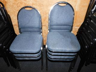 Seven Metal Chairs with Cloth Seat and Back