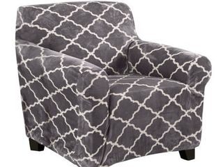 Great Bay Home Printed Velvet Plush Form Fit Chair Slipcover