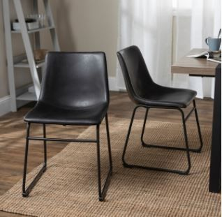 Carbon loft Prusiner Faux leather Dining Chair  Set of 2