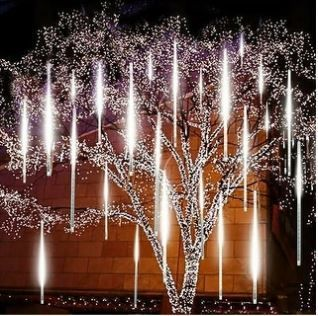 lot of 3  30CM 144lED Solar Meteor Shower String lights Waterproof light Falling String lights for Wedding Party Christmas lights 8pcs