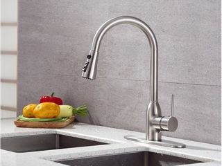 Runfine Single Handle Pull DOWN Kitchen Faucet Brushed nickel finish