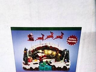 Kurt Adler 10 5 Inch Battery Operated lED Musical Village with Santa and Reindeer Table Piece