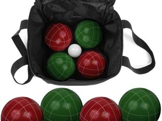 Hey  Play  9 piece Bocce Ball Set with Easy Carry Nylon   Red Green   3 5  Ball