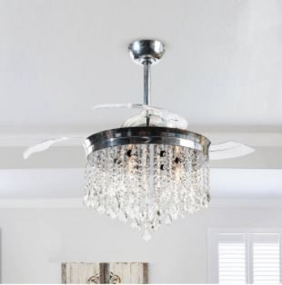 Silver Orchid Shearer 3 Blade 42 inch Ceiling Fan Chrome Crystal Chandelier