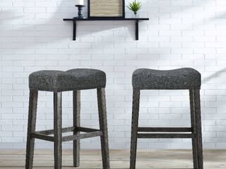 The Gray Barn Overlook Upholstered Backless Saddle Seat Bar Stool  Set of 2    Grey