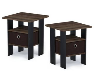 Furinno Andrey End Table Nightstand with Bin Drawer   15 75  W x 15 75  W x 17 5  H    Set of 2