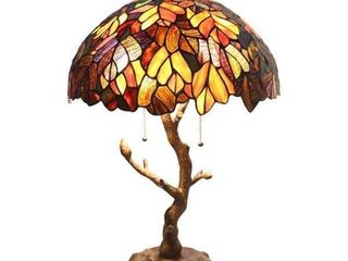 Copper Grove Eugenia Stained Glass 24 5 inch Tiffany style lamp w  Tree Trunk Base   16  l x 16  W x 24 5  H