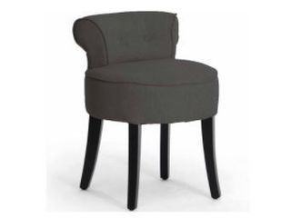 Millani Gray linen Modern lounge Stool   Measurements are in the Photos