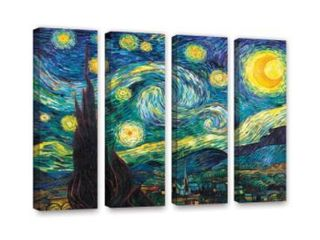ArtWall  Vincent Van Gogh s Starry Night  4 Piece Gallery Wrapped Canvas Set  36  x 48