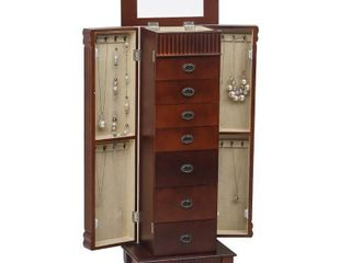 8 Tier Standing Jewelry Armoire Cabinet w Mirror   Top Divided Storage  Factory Straps Still Attached
