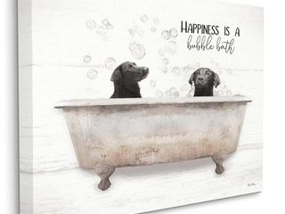 Stupell Industries Animal Bathroom  Happiness is a Bubble Bath  Dog Quote Canvas Wall Art   16  x 20