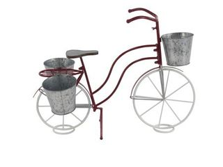 Eclectic 22 Inch Red   White Bicycle Plant Stand by Studio 350