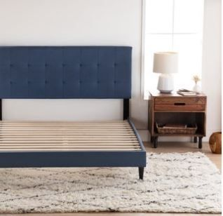 Copper Grove Ayrum Upholstered Bed Frame with Square Tufted Headboard  Navy   Queen