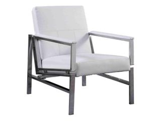 Best Master Furniture leather Stainless Steel Accent Chair  White