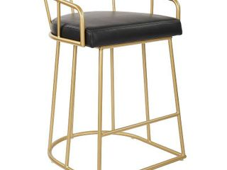 OSP Home Furnishings Mid Century luna 26 inch Fabricated Counter Stool with Gold Base  Black
