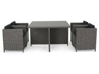 Puerta Outdoor Wicker Dining Table Only by Christopher Knight Home   Mixed Black Dark Grey