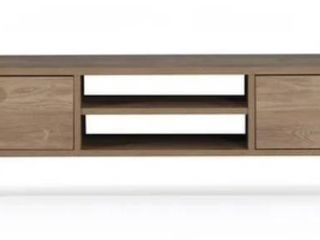 Vega Mid Century Modern Contemporary 60 inch TV Stand with Doors   60 x14 x16  OAK