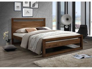 Mid Century Brown Wood Platform Bed SIDERAIlS ONlY by Baxton Studio  King