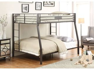 limbra   Full Over Queen   Black Metal Bunk Bed Frame