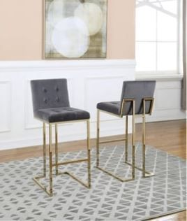 Best Quality Furniture Velvet Button Tufted Back with Gold Stainless Steel legs Barstools  Grey