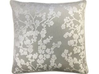 Rodeo Home Daphne Cherry Blossom Floral Cut Velvet Square Throw Pillow