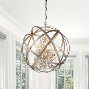 Benita Brushed Champagne Metal and Crystal Orb 4 light Chandelier  Champagne