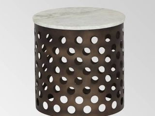 Murky Black   White Ferdinand Modern Industrial Accent Table with Marble Table Top by Christopher Knight Home