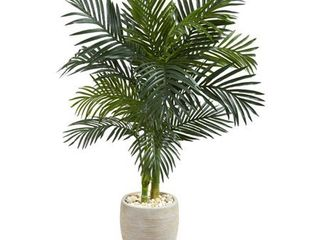 4 5  Golden Cane Palm Artificial Tree in Oval Planter
