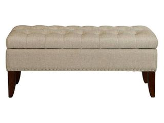lunar linen Fabric Hinged Top Button tufted Storage Bed Bench   Brown