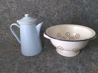 Vintage Enamelware Kettle and Colander