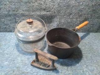 Three Vintage Items   Cast Iron Pot  Sad Iron  and Kerosene Stove Fuel Tank
