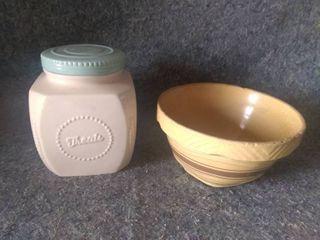 Cookie Jar and Vintage Potted Bowl