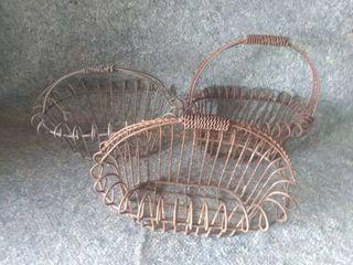 Three Vintage Wire Baskets