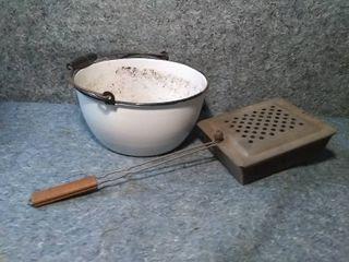 Vintage Cooking Basket and Enamelware Bowl Turned Planter