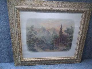 Easter Morning in the Catskills Antique Framed Art Print Copyright 1896 by Muller  luchsinger   Co  New York