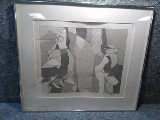 Sue Friesz Flora Series  10 Framed Graphite Original Drawing