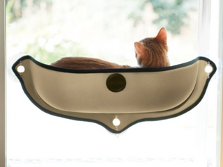 K   H Pet Products   Window Sill Cat Bed with Suction Cups   Khaki Black