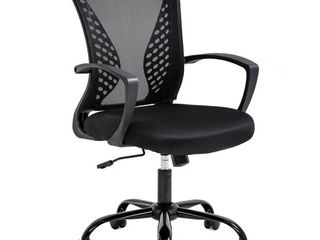 Office Chair Ergonomic Desk Chair Mesh Computer Chair with lumbar Support Armrest Mid Back Rolling Swivel Adjustable Task Chair for Women Adults  Black