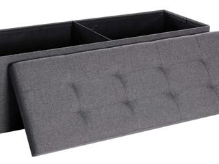 Portable Storage Ottoman   Grey