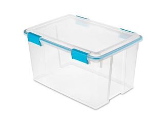 Set of 3   Sterilite 54 Qt Gasket Box Clear with Blue latches