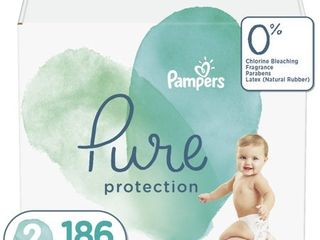 Pampers Pure Disposable Diapers One Month Supply   Size 2  186ct