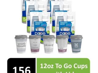 Dixie To Go Paper Hot Cups w lids  12 oz  156 Count