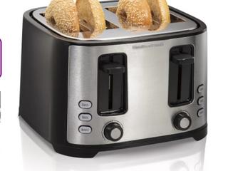 Hamilton Beach   4 Slice Toaster   Dual Control   Stainless Steel Black