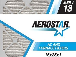 Aerostar Pleated Air Filter  MERV 13  16x25x1  Pack of 6  Made in the USA