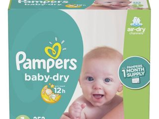 Pampers Baby Dry Disposable Diapers One Month Supply   Size 1  252ct