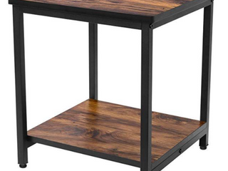 Homemaxs   Square End Table with Storage Shelf   Walnut Color