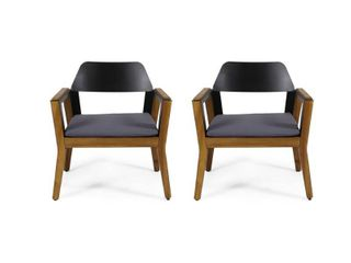 Soho Outdoor Acacia Wood Club Chairs with Cushion  Set of 2  by Christopher Knight Home  Retail 246 99