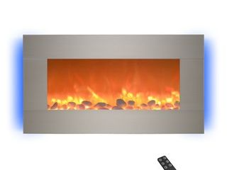 Electric Indoor Fireplace Wall Mounted with 13 Backlight Colors  Adjustable Heat and Remote  31  by Northwest  Brushed Silver