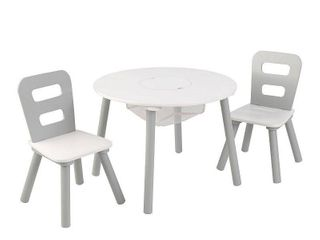 KidKraft Round Storage Table   2 Chair Set   Gray   White